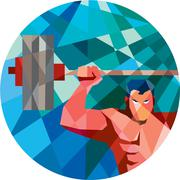 Weightlifter Snatch Grab Lifting Barbell Low Polygon Stock Illustration