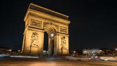 Arch Of Triumph by Night, Timelapse, Traffic, Paris Stock Footage