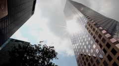 City Buildings With Sun Flair Stock Footage