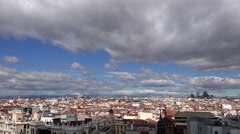 ULTRA HD 4K Timelapse panoramic view Madrid landscape rooftop cloud day landmark Stock Footage