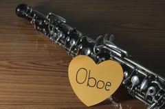 oboe on wood background - stock photo