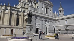 ULTRA HD 4K Tourist people take photo Santa Maria Real Almudena Madrid church  Stock Footage