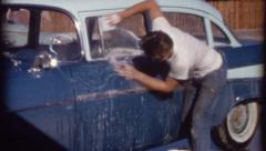 Crazy Dancing Young Man Washes Car Vintage Film Retro Film Home Movie 8210 Stock Footage