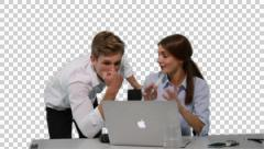 K14A8780 - Young woman and collegue (boss) in front of Laptop, shaking heads Stock Footage