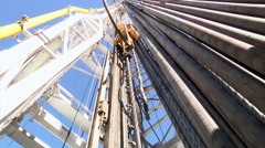 Drilling Rig Follow Blocks Down to Drill Floor Stock Footage