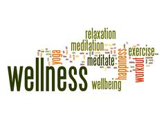 Wellness word cloud with white background - stock illustration
