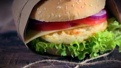 Fresh takeaway burger with eggs Stock Footage