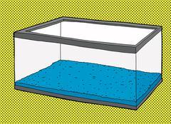Empty Aquarium Tank with Blue Gravel - stock illustration