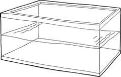 Outlined Half Full Fish Tank - stock illustration