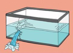 Single Broken Pet Fish Tank - stock illustration