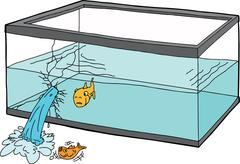 Worried Fish in Broken Tank - stock illustration