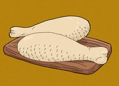 Turkey Drumsticks on Cutting Board - stock illustration