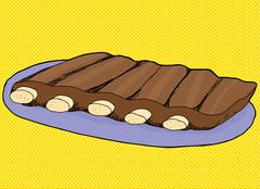 Spare Ribs on Blue Plate Stock Illustration
