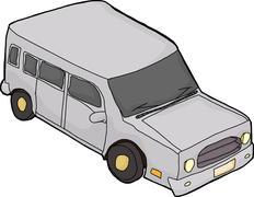 Gray Cartoon SUV - stock illustration