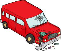 Stock Illustration of Single Red Damaged Red SUV