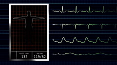 Computer Generated Heart Rate Medical Data Stock Footage