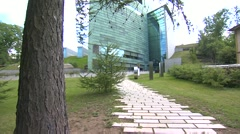Approach to the main door of Estonian Art Museum. Stock Footage