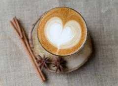 hot coffee , latte art - stock photo