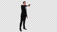 K14A8879 - Guy with tux and fly points and interacts Stock Footage