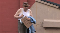 Unsure Homeless Alcoholic 14 in series Stock Footage