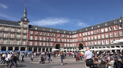 ULTRA HD 4K Tourist people visit Plaza Mayor Madrid old town landmark painted  Stock Footage