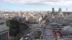 ULTRA HD 4K Aerial view Cybele Palace traffic car busy avenue Madrid day emblem  Stock Footage