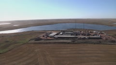 Stock Video Footage of Large Fracking Operation Aerial 360