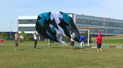 Large kite flying on sunny summer day Stock Footage