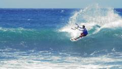 Extreme sport slow motion video. Kite surfing in ocean Stock Footage