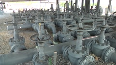 Oil Refinery with lots of valves Stock Footage