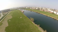 Aerial view of river Sava in Zagreb, Croatia Stock Footage