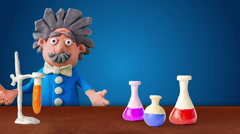 Animated scientist speak at the table with proof, loopable. Stock Footage