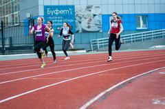 Stock Photo of Girls compete in the run, Orenburg, Russia