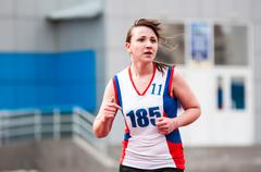 Girls compete in the run, Orenburg, Russia - stock photo