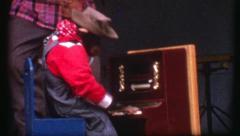 CHIMP Plays Piano Chimpanzee APE Monkey Animal Act Vintage Film Home Movie 8243 Stock Footage