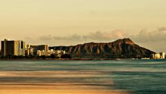 Waikiki Diamond Head Sunset in Hawaii in 4K (Timelapse) Stock Footage