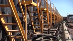 Oil Well Frack Operation Tanks Lined Up Stock Footage