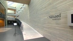 Inside view of the Estonian Art Museum lobby. Stock Footage