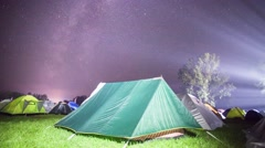 Camping Under The Milky Way Stock Footage