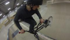 Extreme Sport BMX Bicycle - Unique GoPro Angle Rotor Mount POV Stock Footage