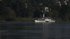Steamboat at the Elbe River Dresden Germany Stock Footage