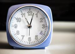 Old fashioned azure morning alarm clock Stock Photos