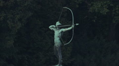Archer Sculpture, Statue at the elbe river in dresden germany - stock footage