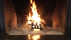 Burning Flames Of A Fire In The Fireplace Stock Footage