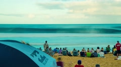 Stock Video Footage of North Shore of Oahu Pipeline Champion Surf Contest in 4K (Timelapse)