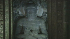 Buddha statue in room of Aurangabad caves. Stock Footage