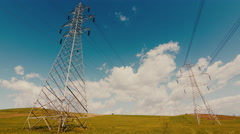 4K Electricity,high voltage pylons,power transmission lines 30p Stock Footage