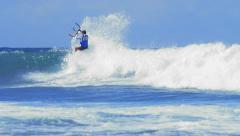 Water sport slowmotion video. Kite boarding on sea - stock footage