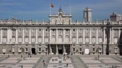 ULTRA HD 4K Timelapse tourist people visit Royal Palace Madrid tourism emblem  Stock Footage