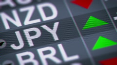 Indicator of change of an exchange rate. Japanese yen, UP - stock footage